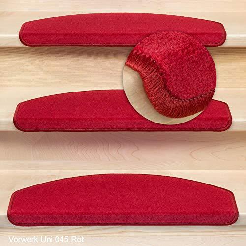 Kettelservice-Metzker® Stufenmatten Vorwerk Uni Einzeln und Sparset's Rot 28 Stück Halbrund
