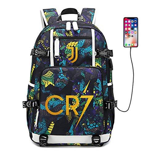 Zpyh Futbolista Estrella Cristiano Ronaldo CR7 Mochila Multifuncional Student Travel Mochila los Aficionados la Mochila Hombres Mujeres (3 Estilos) (Color : A Blue)
