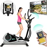 Bicicleta Eliptica Bluefin Fitness CURV 3.0 Elliptical Cross Trainer / Air Walker / Zancada larga / Consola de Fitness Digital LCD / Bluetooth / Aplicación para Smartphone / Negro y Plata