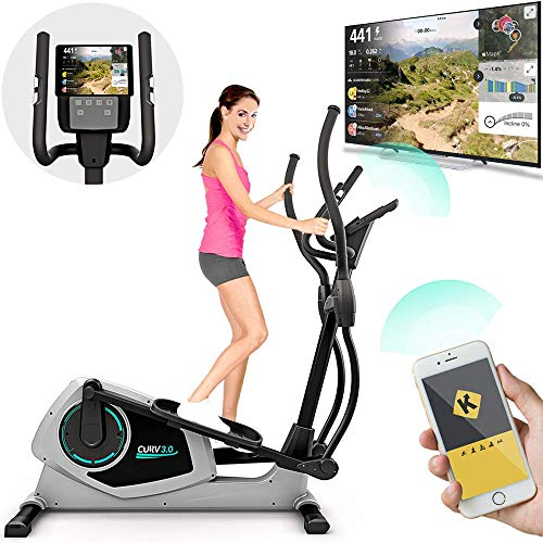 Bluefin Fitness CURV 3.0 Bicicletta Ellittica da Casa | Cross Trainer | Esercizi di Step | Air Walker | Display LCD Digitale | Bluetooth | App Smartphone | Nero, Grigio o Argento