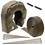 LEDAUT 2' x 50' Titanium Exhaust Heat Wrap Roll and T5 T6 Titanium Turbocharger lCover Blanket with Stainless Ties and Fastener Springs for Car Motorcycle Fiberglass Heat Shield Tape Cover Wrap