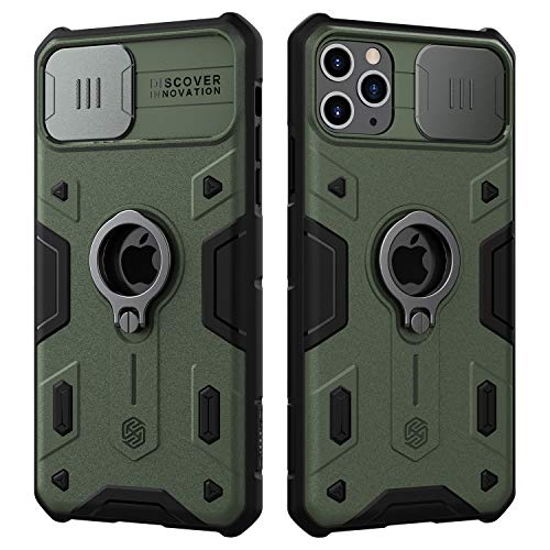 Nillkin iPhone 11 Pro Max Case, CamShield Armor Case with Slide Camera Cover, PC & TPU Impact-Resistant Bumpers Protective Case with Ring Kickstand for iPhone 11 Pro Max 6.5 inch (2019) - Green