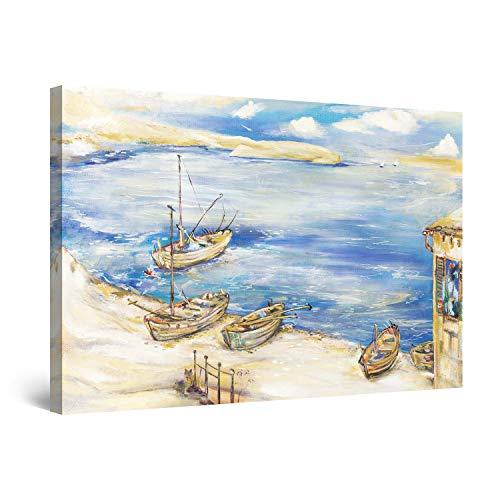 Startonight Cuadro Moderno en Lienzo - Decoración Marinero Azul y Playa - Pintura Paisaje Para Salon Decoración 60 x 90 cm