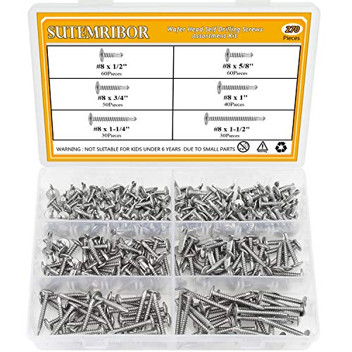 Sutemribor 270 Pieces 410 Stainless Steel Self Drilling Screws Set (#8 Wafer Head)