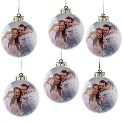 MC Trend Foto Weihnachtskugeln für Dein Foto in der Kugel - Weihnachten Weihnachtsbaum Christbaum Geschenk Christbaumschmuck Anhänger (6 Stück)