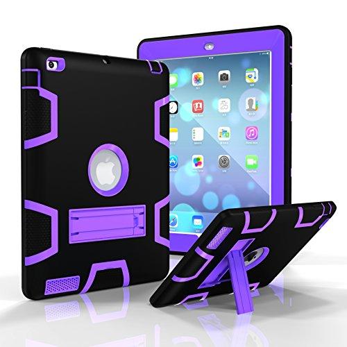 Funda para iPad 3, iPad 4, iPad 2, Jeccy de Doble Capa, Resistente, Delgada, a Prueba de Golpes, híbrida, Resistente, con función Atril para Apple iPad 2/3/4 Black-Purple