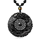 Black Dragon Obsidian Pendant Necklace, Dragon and Phoenix Natural Obsidian Crystal Pendant Necklace Pattern with extend Bead Chain for Men or Women, Black Elegant Round