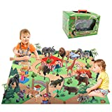 BeebeeRun 24 Piezas Juguetes Animales con Tapete Juego,Figuras Animales Juguete Educativo,Juguetes niños 3 años 4 años 5 años
