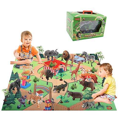 BeebeeRun 24pcs Animali Giocattolo Set con Tappetino da Gioco,Educativo Realistico Figure Animali Giocattoli Regalo di Compleanno per Bambini
