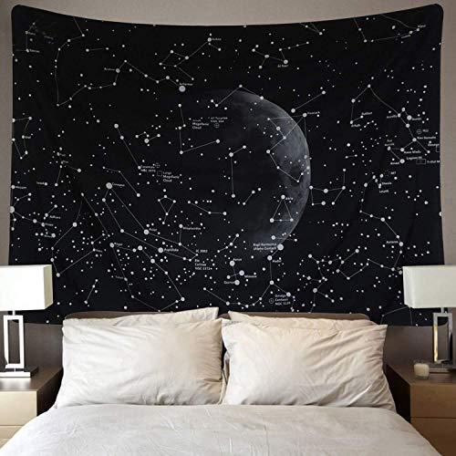 Dremisland Galaxie Wandteppich Indisch Bohemien Mandala Wandtuch Wandbehang Tapisserie Schwarz Mond Wandteppich für Wohnzimmer Schlafzimmer Dekor(Konstellationen Karte, L / 148x200cm)