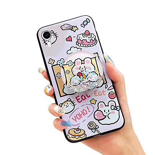 Funda de silicona para teléfono Lulumi para iPhone XR, a prueba de golpes, estrellas con purpurina, diseño de moda, resistente al agua, antipolvo, suave TPU antigolpes para niñas, rosa conejo y pastel