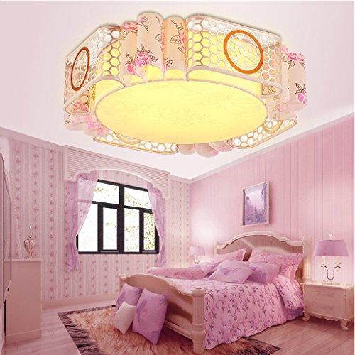 Plafonnier Peaceip Chambre d'enfants Chambre à Coucher LED Creative Girls Pink Princess Chambre Illumination, 50 x 50 x 12 cm