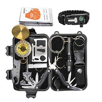 Exqline kit de Survie d'urgence, Portable 24 en 1 kit Survie Complet Sac de Survie, Voyage Camping Trousses Équipement pour Randonnée Lampe de Poche Extérieur Chambre Voiture Chasse Aventures