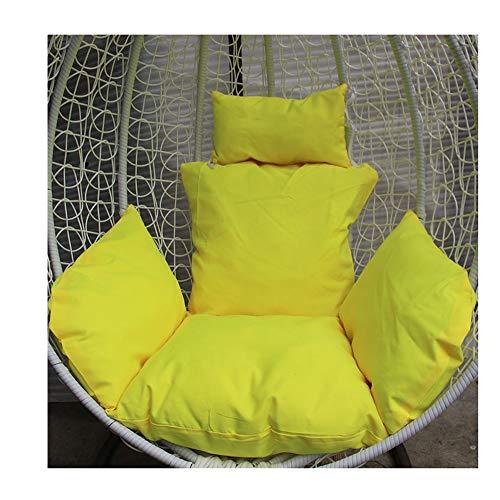 Dicke Liege Relaxsitzbezug Korbsessel Sessel,Hängende Ei Hängematte Stuhl Kissen Ohne Stehen,Schaukel Sitzkissen Dick Nest Hängesessel Mit Kissen 110 * 120cm (Color : Yellow, Size : 110 * 120cm)