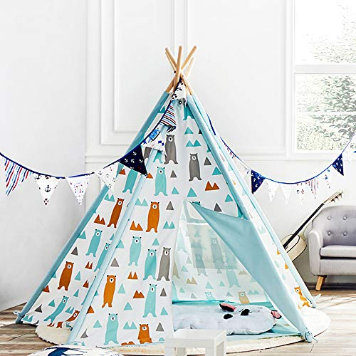Asweets Kids Teepee Tent for Boys & Girls - Cotton Canvas Teepee Play Tent for Children Indoor and Outdoor Games, Little Bear Walls Indian Tipi Tent with Storage Bag (5 Walls)