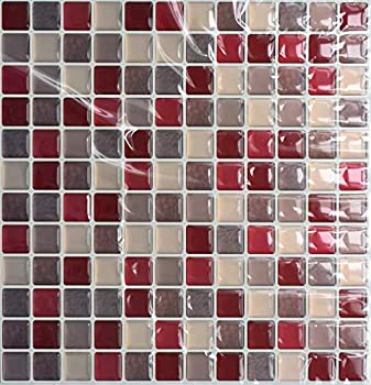 VANCORE 3D Mosaic Sticker Peel and Stick Tile Backsplash Wall Paper for Home Kitchen Pack of 4 Red