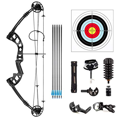 GXF Compound Bow Archery, Aluminum Magnesium Alloy Bow kit with Dyneema Bow String Right Hand Composite Bow with Adjustable Draw Length and Weight Composite Bow Archery Hunting Equipment