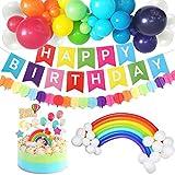 vamei Decoración de cumpleaños Artículos de Fiesta Kit-de Fiesta de Cumpleaños Feliz Suministros Arco Iris Globo Banner Pastel De Cumpleaños del Arco Iris Decoration para niñas