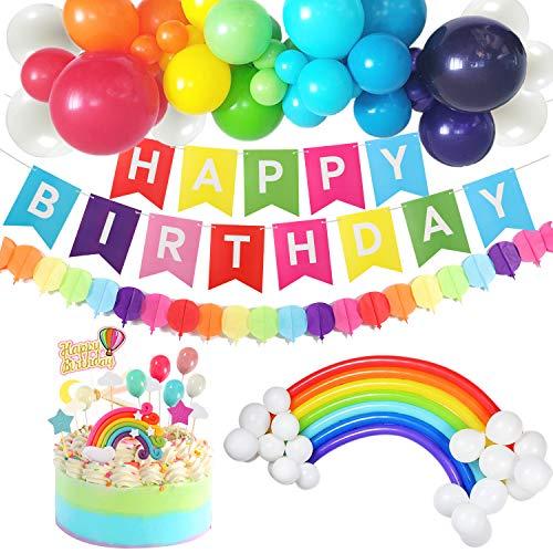 vamei Geburtstagsdeko Kindergeburtstag Deko Birthday Decorations Bunt Luftballons Girlande Regenbogen Kuchen Topper für Geburtstag Party Jungen Mädchen
