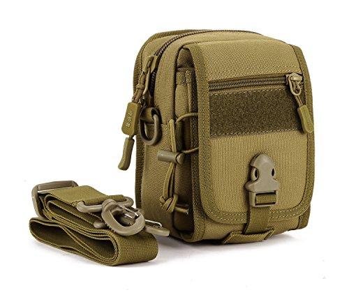 Huntvp® Molle Hüfttasche Mini Gürteltasche Taktisch Zubehörtasche Crossbody Tasche Multifunktional Beutel Handytasche zum Aufhängen Kleine Tasche für Wanderung Radfahren - Braun