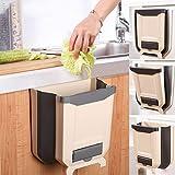 Barrageon Cubos de Basura Plegable Papelera de Cocina Bote Basura Colgante Extraible Coche Baño Oficina Cajón Sencillo Durable 8L Con 200 Bolsas de Basura (Caqui)