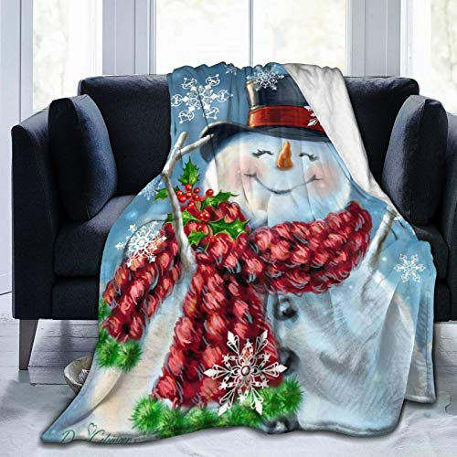 Merry Christmas Santa Claus Throw Blankets Snowman Tree Throw Blanket Ultra-Soft Micro Fleece Blanket Microfiber Blanket,Luxury All Seasons Warm Blanket for Bedding Sofa
