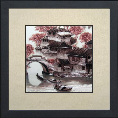 King Silk Art 100% Handmade Embroidery Cherry Blossoms Chinese Print Framed green bamboos Landscape Painting Gift Oriental Asian Wall Art Dcor Artwork Hanging Picture Gallery 37151WFG