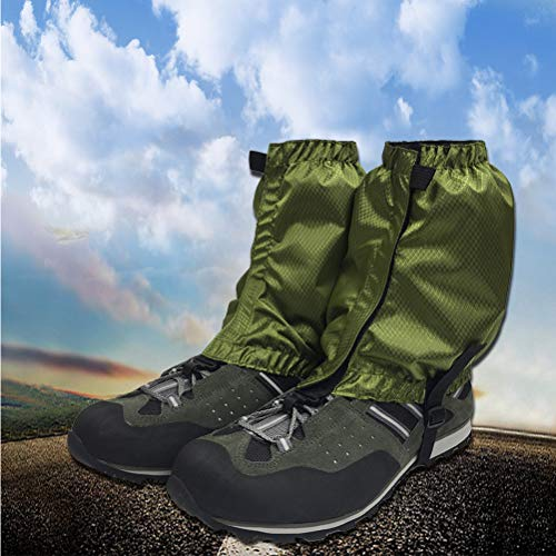 VORCOOL 1 Paar Schnee Gamaschen Leichte Wasserdichte Knöchel Gamaschen für Outdoor Wandern Klettern (Dunkelgrün) - 2