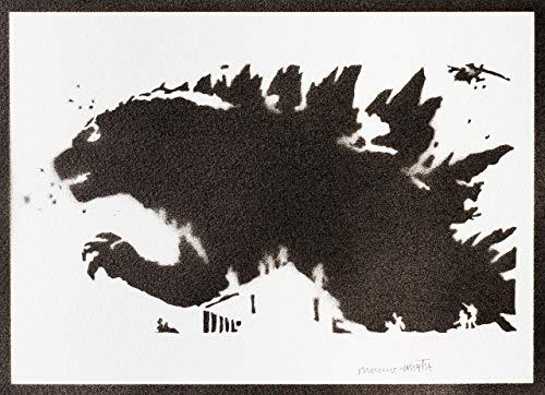 Poster Godzilla Grafiti Hecho a Mano - Handmade Street Art - Artwork