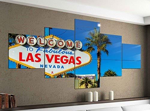 Acrylglasbilder 5 Teilig 200x100cm Las Vegas schild Welcome USA Palmen Druck Acrylbild Acryl Acrylglas Bilder Bild 14F931, Acrylgröße 11:Gesamtgröße 200cmx100cm