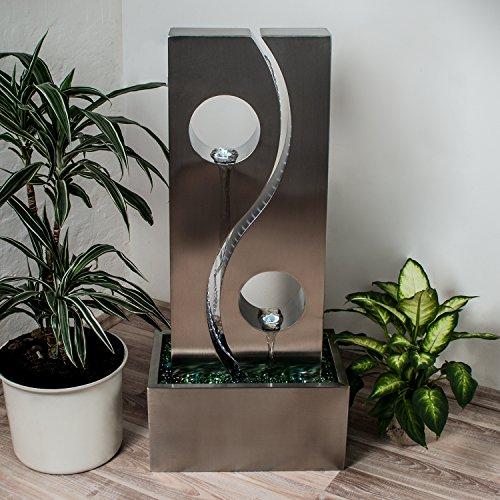 Köhko® Wassserwand Yin Yang mit LED-Beleuchtung Höhe ca. 90 cm Springbrunnen Wasserspiel mit Edelstahlbecken