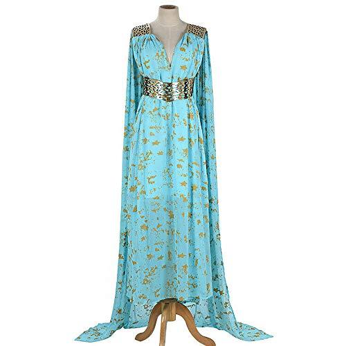 Greetuny Madre de Dragones Juego de Tronos Daenerys Targaryen Vestido Largo Azul Disfraz Halloween Cosplay Outfit, Azul, XX-Large