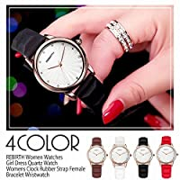 【REBIRTH リバース】セイコームーブ 日常生活防水 輝くデザイン文字盤 ラバー RB004 レディース腕時計 (BLK)