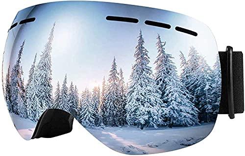 LESHP Gafas de esquí sin marco, OTG para snowboard con protección UV400, lentes desmontables para hombres, mujeres y adolescentes, 12% VLT (adulto)