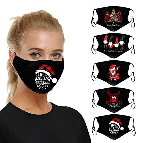 5PC 10pc Adult Cute Christmas Face Bandanas Reusable Face Macks Washable Covering Mouth Guard (5PC,A)
