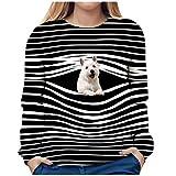 3D Animal Print T-Shirt for Women Cute Dog Pattern Striped Casual Long Sleeve Crewneck Loose Autumn Blouse Tee (M, 1-Black)