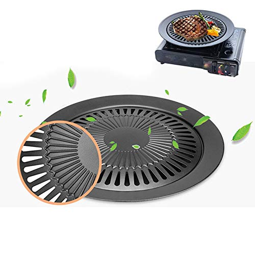 1Pcs Barbecue Teller rundes Eisen-Grill Grillplatte Smokeless Non-Stick Gasherd Platte Grill rösten Kochen Werkzeug-Sets