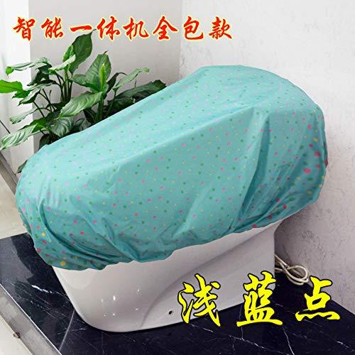 BAOZIV587 Waterdichte wc-hoes regenjas Smart wc-hoes, stofdicht, eendelig deksel, [Smart Machine All-Inclusive] Lichtblauw punt