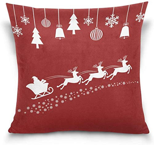 MODORSAN Home Sofa Decorative 18'x18' Pillow Cover Case,Christmas Cartoon Santa Claus Flying Sleigh with Reindeer Snowflake Sofa Bed Pillow Case Cover Twin Sides
