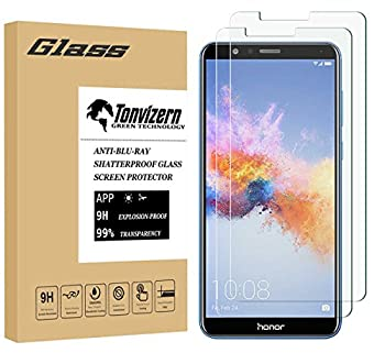 [2 Pack] Tonvizern Compatible for Huawei Mate SE/Huawei Honor 7X Tempered Glass Screen Protector,0.26mm 9H Hardness Screen Protector