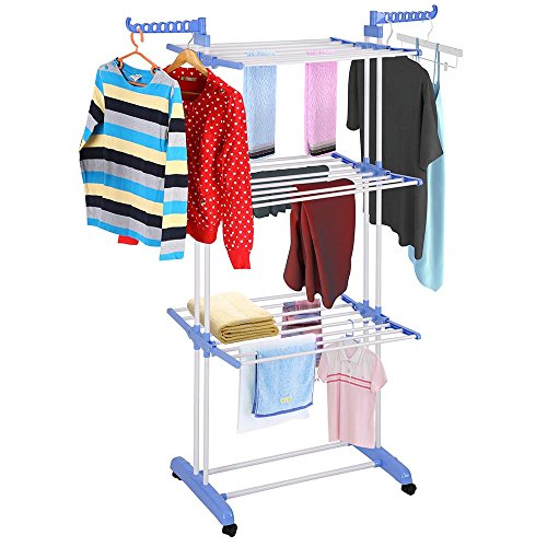 Yeshom Foldable 3 Tier Clothes Drying Rack Rolling Collapsible Laundry Dryer Hanger Stand Rail Indoor Blue