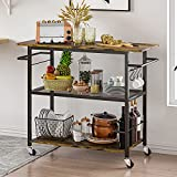 Hasuit 3 Tier Kitchen Cart Island on Wheels, Microwave Stand with Open Shelves, Rolling Storage Cart with Wood Tabletop and 6 Hooks, for Home Dining Room, Living Room (Accent)