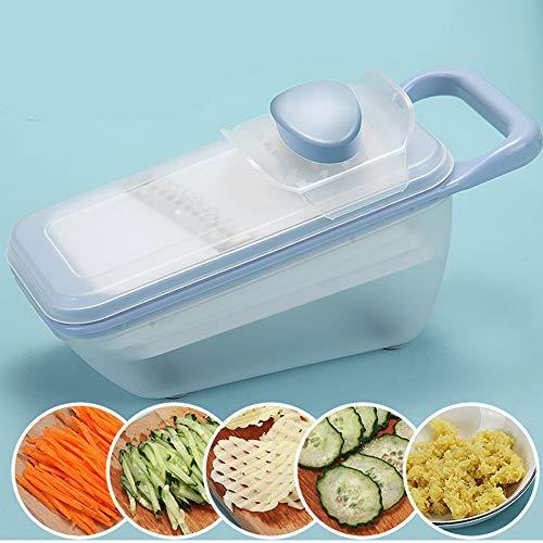 PLKZ Slicer Küchen Mandolinen Veggie Slicer Lebensmittel Cutter Küchenschneidekartoffelreibe Startseite Multi-Funktions-Slicer-Blau Gemüse Chopper Chipper Manuelle Cutter