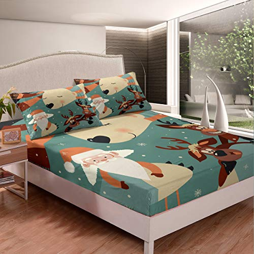 Funny Christmas Deer Fitted Sheet Twin XL Cartoon Sleeping Bear Kids Bed Sheet Glasses Santa Claus 2 Pieces Duvet Sheet Sets(1 Fitted Sheet 1 Pillow case)