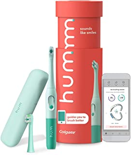 Sponsored Ad - Colgate hum Smart Battery Toothbrush Kit, Sonic Toothbrush with Travel Case and Replacement Head, Teal