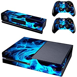 UUShop Protective Vinyl Skin Decal Cover for Microsoft Xbox One Console wrap sticker skins with two Free wireless controller decals Blue Fire Flame(NOT for One S or X)