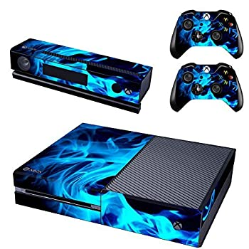 UUShop Protective Vinyl Skin Decal Cover for Microsoft Xbox One Console wrap Sticker Skins with Two Free Wireless Controller Decals Blue Fire Flame NOT for One S or X