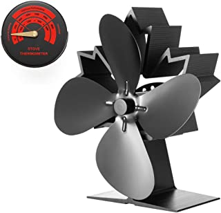 CRSURE Stove Fan Mini Size for Stove Fireplace, Newest 4-Blade Maple Leaf Wood Stove Fan,40% More Airflow Than Other Model, Heat Powered Stove Fan for Wood Burning Stoves,Fireplaces,Wood/Log Burner