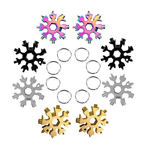 Snowflake Multi Tool for Men, 18-in-1 Keyrings/Bike/Keychain/Camping Tools, Gadgets for Men Technology, Bottle Opener/Screwdriver/Portable Outdoor Best Helper/Gifts for Ladies 8 Pcs 4 Colors