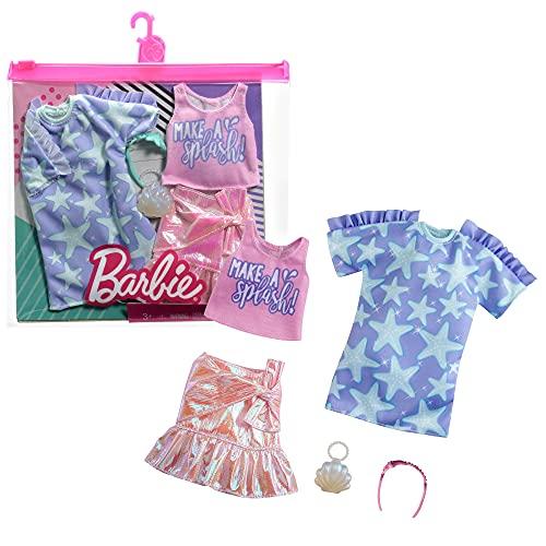 Barbie Paquete de Moda para muñecas - Vestido Camisero de Estrellas y más